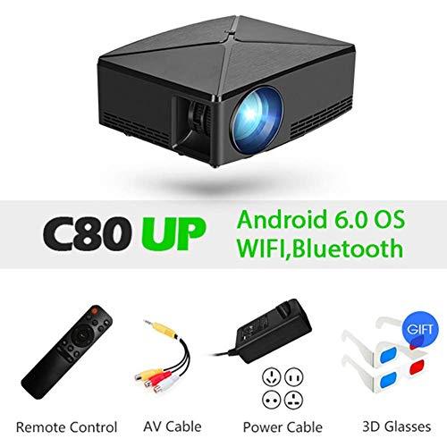 WCJ Draagbare Projector met 4000 Lumen, Mini Projector, 1280X720p Resolutie, LED Draagbare 3D Beamer voor 4K Home Cinema, B