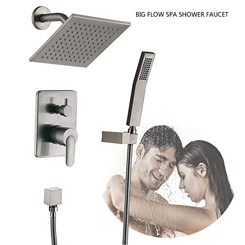 Shower Faucet System Amazing Rain Shower Head ALL METAL Shower Set Shower Valve and Trim Fixtures (Brushed Nickel Shower Faucet)