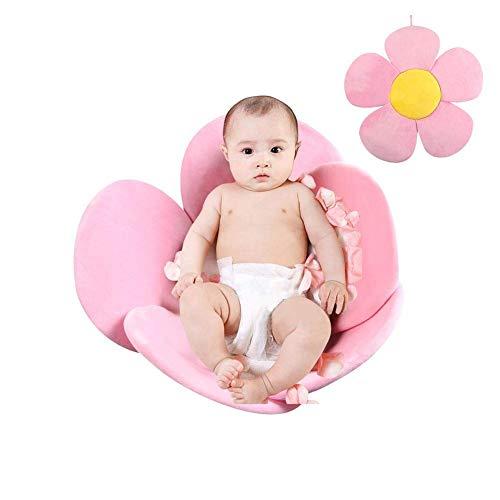 Lelestar Materassino da bagno a forma di fiore, cuscino da bagno per neonati portatile, imbottito e pieghevole, per vasca da bagno (Rosa)