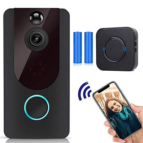 Deurbel met camera, draadloos wifi, video Doorbell 720p HD deurintercom met PIR-bewegingsmelder, nachtzichtmodus, intercomfunctie