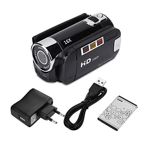 4X Digitale Camcorder-Videokamera 1080P 16MP Full HD 270 ° Drehung Weitwinkel 2.4inch Bildschirm Camcorder kompatibel für 32 GB SD-Karte(Schwarz-EU)