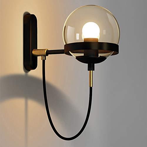 Ganeep Retro Hierro Forjado Industrial 1 luz E27 luz de la Pared Postmodern Bola de Vidrio Dormitorio mesita de Noche Minimalista Hotel lámpara de Pared Apliques focos (Color : B)
