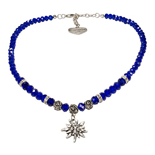 Alpenflüstern Perlen-Trachtenkette Fiona Crystal mit Strass-Edelweiß klein - Damen-Trachtenschmuck Dirndlkette blau DHK155
