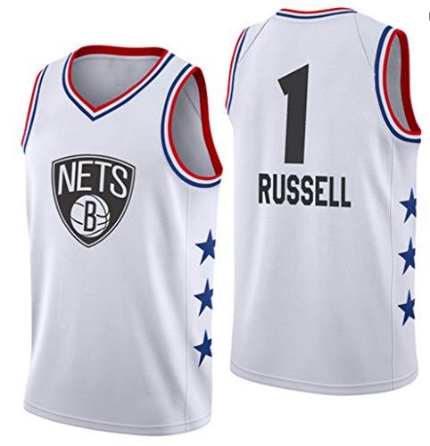 Hombres Jerseys, Nets # 1 Russell All-Star De Baloncesto De Los Jerseys, Transpirable Usable para Hombre De Las Camisetas Ropa De Baloncesto,Blanco,L(170~175cm)
