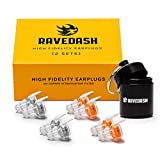 Ravedash High Fidelity Concert Earplugs - 2 Pairs - 21dB NRR - New 2020 Model - Copper Noise Filter and Connector Cord - 2 Set Multi-pack