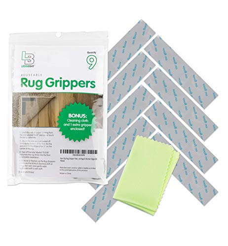 Non Slip Rug Gripper Pads: 9 Reusable Corner Carpet Tape Grippers  Adhesive No Skid Anti Slip Pad Hardwood Laminate Floors  Sticky Nonslip Grip Anchors Never Curl Area Rugs amp Runner Edges 9