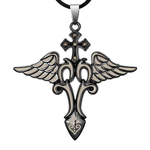 FJ Angel Wing Zwaard Ketting met Lederen Touw Ketting, Kruis en Hart met Je Dappere, Cadeau voor Haar