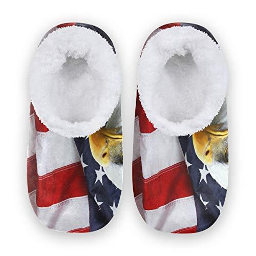 Rxyy Bird Condor Eagle - Pantuflas de bandera americana para mujeres y hombres, pantuflas de forro polar coral para interior, color, talla 38/39 EU