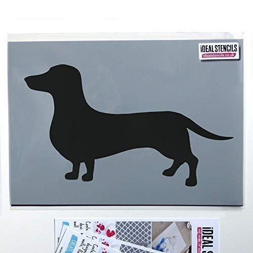 Ideal Stencils Dackel Hund Schablone Dekoration Jede Oberfläche Farbe Wände Stoff und Möbel | Wiederverwendbar Heim Dekoration Kunst Handwerk - halb geschliffen Durchsichtig Schablone, M/21X37CM