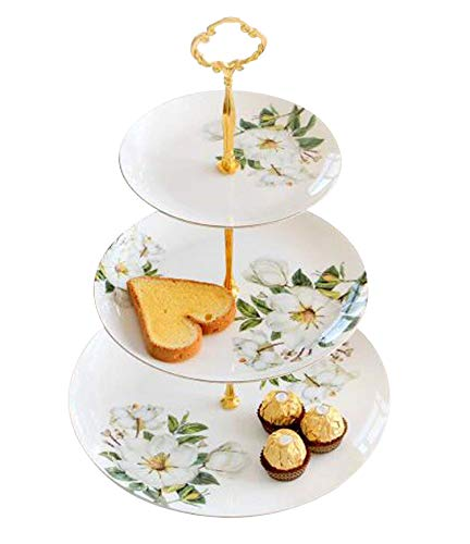 YBK Tech 3 Tier Porcelain Round Cake Plate Stand Dessert Display Cakes Platter Food Rack,White & Green,Height:14.5Inch/Diameter:6Inch&8Inch&10Inch (White)