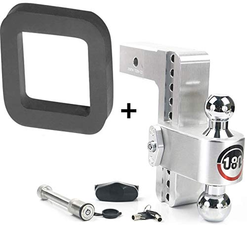 """B&W Silencer Pad Weigh Safe 180 Hitch CTB8-2.5-KA 8"""" Drop Hitch, 2.5"""" Receiver 18,500 LBS GTW - Adjustable Aluminum Trailer Hitch Ball Mount & Chrome Plated Combo Ball,Key Lock and Hitch Pin"""
