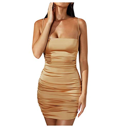 Xinantime Womens Casual Spagetti Dress Solid Color Pleated Sexy Backless Bandage Nightclub Dress (Coffee,M)