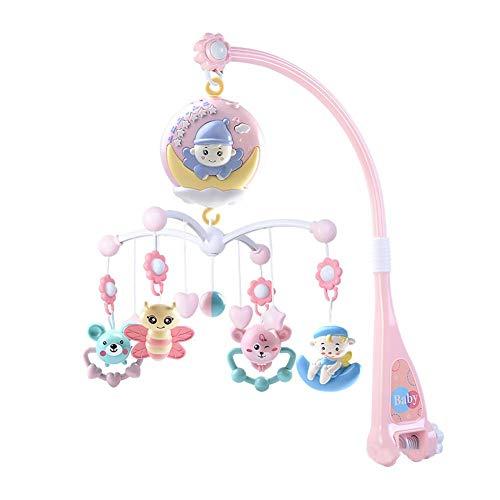 decaden Babybett Zubehör Kinderbett Mobile mit Timing-Funktion Projektor und Lichter hängen rotierende Rasseln und Fernbedienung Spieluhr für Baby 2 4 6 8 10 Monate oder älter