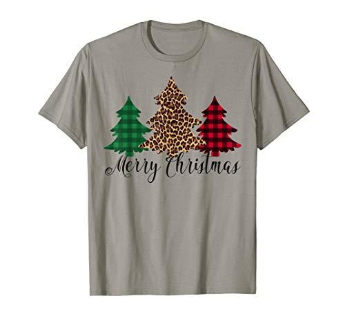 Merry Christmas Leopard Buffalo Plaid Christmas Trees T-Shirt
