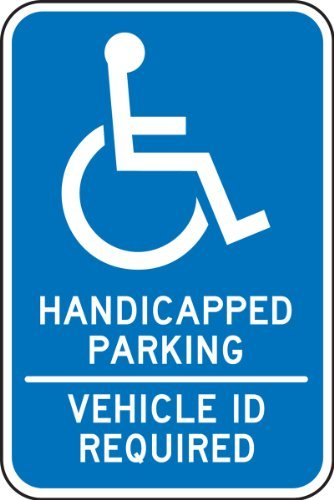 "Accuform Signs FRA202RA Engineer-Grade Reflective Aluminum Handicapped Parking Sign (Minnesota, Texas), Legend ""HANDICAPPED PARKING - VEHICLE ID REQUIRED"" with Graphic, 18"" Length x 12"" Width x 0.080"" Thickness, White on Blue"