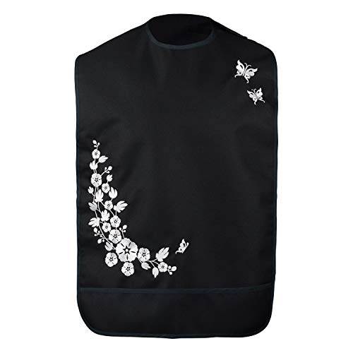 Modaliv Adult Bib for Women - Embroidered Waterproof Clothing Protector with Crumb Catcher - Reusable - Machine Washable (Flowers and Butterflies)