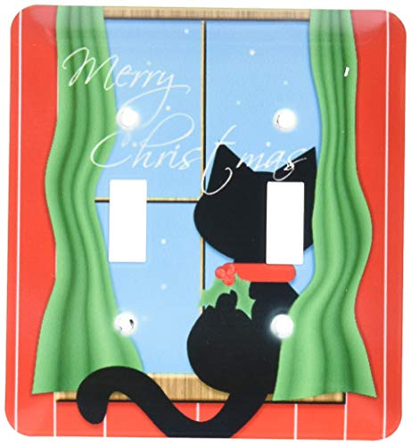 2 Gang Wall Plate Cover Decorator Wall Switch Light Plate Double Toggle Switch Merry Christmas Cute Black Cat in Snowy Window Classic Beadboard Unbreakable Faceplate