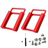 SSD/HDD Mounting Bracket 2.5' to 3.5' Adapter Shockproof Plastic Holder 2.5 to 3.5 Converts Hard Drive Bay Notebook to Desktop for PC, with Fixing Screws and Screwdriver (Red) (2pcs, Red)