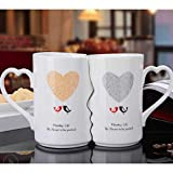 SLW Taza De Cerámica Creativa Taza De Cerámica para Parejas Taza De Desayuno con Vidriado De Cerámica Pequeña, Fresca Y De Gran Capacidad Descripción del Producto 301-400ml/ Love Bird