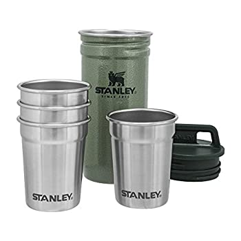 Stanley Adventure Nesting Shot Glass Set 4 Stainless Steel Shot Glasses with Rugged Metal Travel Carry Case Camping Gifts