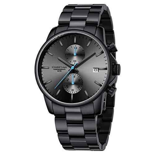 Orologi da uomo in acciaio inox e metallo, stile casual, impermeabile, cronografo al quarzo, data automatica, lancette colorate (nero blu)