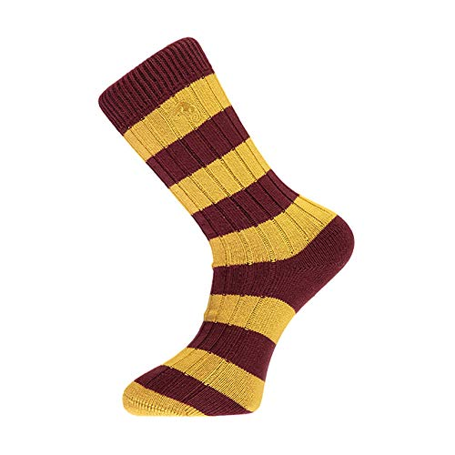 Maroon and Gold Striped Socks, Perfect Gifts for Bradford City or Motherwell Fans, Football Fan Gifts, Size UK 7-11