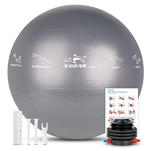 XGEAR Fitness Pelota Balón de Ejercicio Anti-explosión 55cm/65cm/75cm para Fitness Yoga Pilates Ball Estabilizador de Balón de Equilibrio Resistente con Bomba (Gris, 65cm)