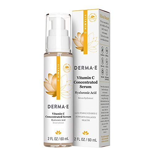DERMA E Vitamin C Concentrated Serum with Hyaluronic Acid, Antioxidant Protection, Boots Hydration, Anti-Aging Properties, 2oz