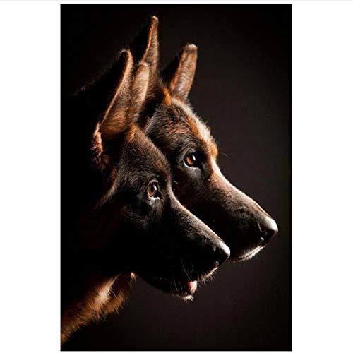 LILONG Cuadro en Lienzo Blanco y Negro Perro de Pastor alemán Animal Print Picture Fine Wall Art Decoración para el hogar -50x70cm1pcs Sin Marco