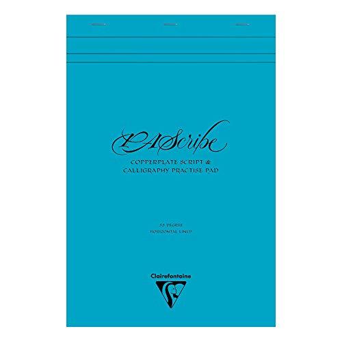 Clairefontaine 96607C – Ein Block für Kalligrafie, Pascribe, 60 Seiten, weißes Körnung, 90 g, 21 x 31,8 cm, Umschlag Maya, Türkis