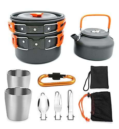 Juego de utensilios de cocina para acampar con tetera de 0,8 litros, tetera para fogata para 1-2 personas, kit de cocina al aire libre, kit de cuchara de tenedor plegable para mochileros,Orange