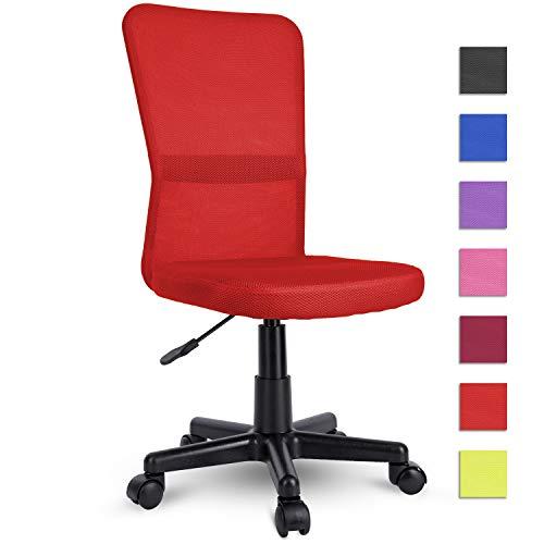 TRESKO Bürostuhl Schreibtischstuhl Drehstuhl, erhätlich in 7 Farbvarianten, mit Kunststoff-Leichtlaufrollen, stufenlos höhenverstellbar, gepolsterte Sitzfläche, Lift SGS-geprüft (Rot)