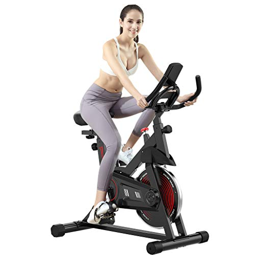 Exercise Bikes, Indoor Cycling Bike Stationary, Spin Bike for Home Cardio Gym, Silent Belt Drive Workout Bike with Flywheel, Home Bicycle Fitness Equipment with LCD Digital Monitor Phone Holder