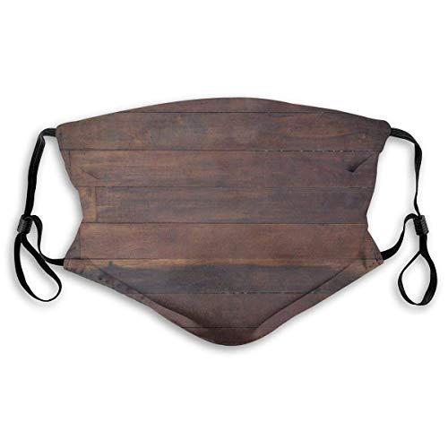 Mond Ma-sk, Ouderwets donker hout eiken houten planken vloerbeeld landleven kamerwerk, geprinte gezichtsdecoraties met filter voor volwassenen en kinderen