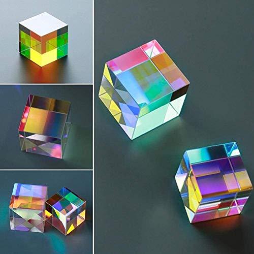 Prisma,Glas Würfel Prisma Kunst Kristall Regenbogen Maker, Optisches Glas Würfel Prisma Kunst 6 Seiten Kristall Regenbogen Maker