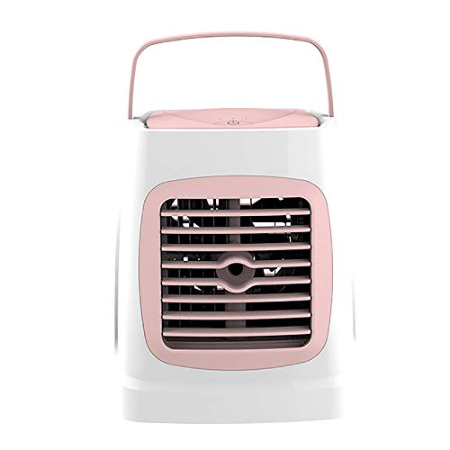 Gesh C201 - Refrigerador de aire acondicionado, ventilador de humidificación portátil para el hogar (blanco + rosa)