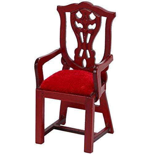 BESPORTBLE 1:12 Puppenhaus Stuhl Miniatur Vintage Retro Geschnitzt Mini Stuhl Einzel Sofa Stuhl Möbel Spielzeug für Puppen Zimmer Bett Zimmer Actionfiguren Zubehör