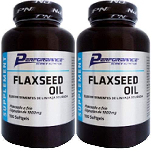 Óleo de Linhaça Dourada 1g Sem Hexano Flaxseed Oil Performance Nutrition 100 Cápsulas Kit 2 Und