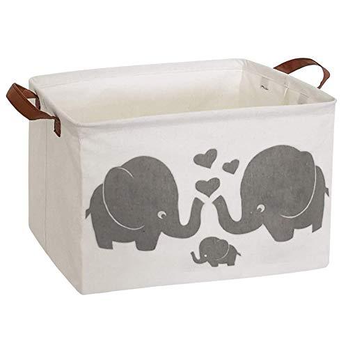 ESSME Rectangular Fabric Storage Box,Collapsible Storage Basket Bins Organizer with Handles for Kids Room,Shelf Basket,Toy Organizer(Elephants)