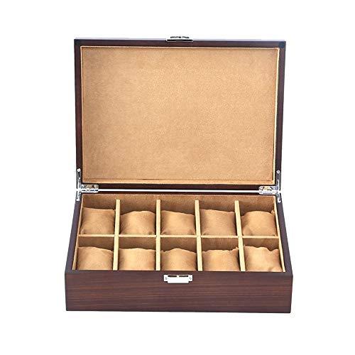 FIONAT Uhrenbox Schmuckkästchen Herren Damen Geschenk Reisen Holz Vintage Schloss Flip Cover 10 Raster Display Aufbewahrungsbox 30 * 22 * 8,5 cm-Kein Oberlicht
