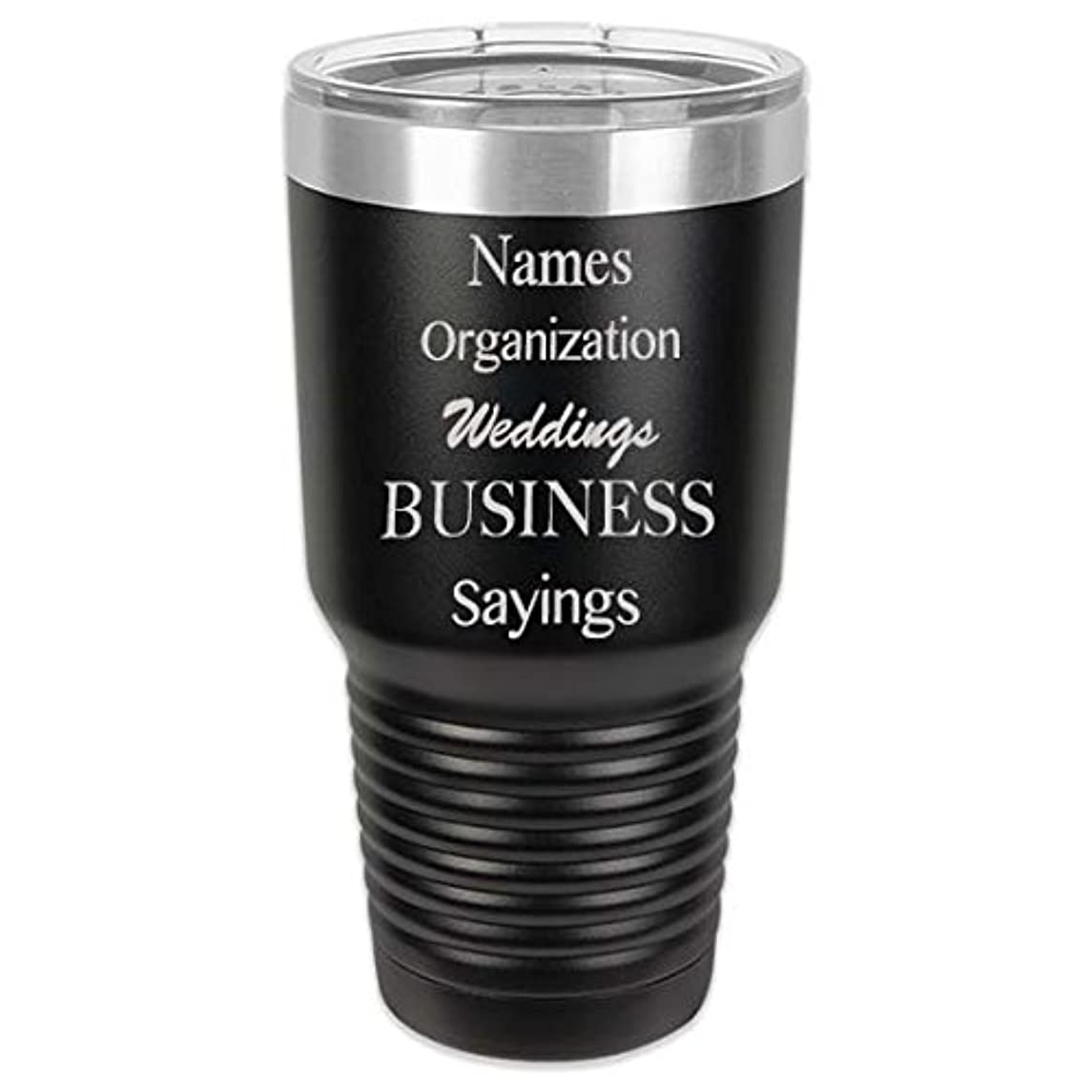 Black Personalized 30 oz Vacuum Insulated Stainless Steel Tumbler Two-Position Lid - Up to 5 Lines of Text