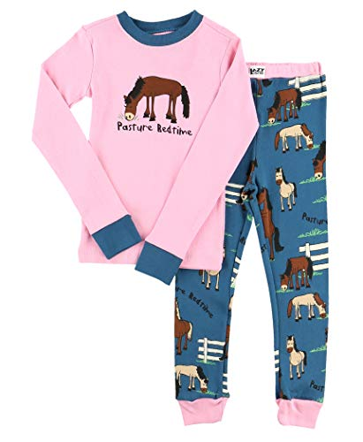 Lazy One Long-Sleeve PJ Sets for Girls and Boys, Funny Kids' Pajama Sets (Pasture Bedtime Girl, 4T)