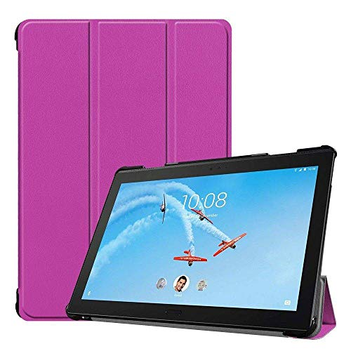 Case2go - Case for Lenovo Tab P10 - Slim Tri-Fold Book Case - Lightweight Smart Cover - Purple