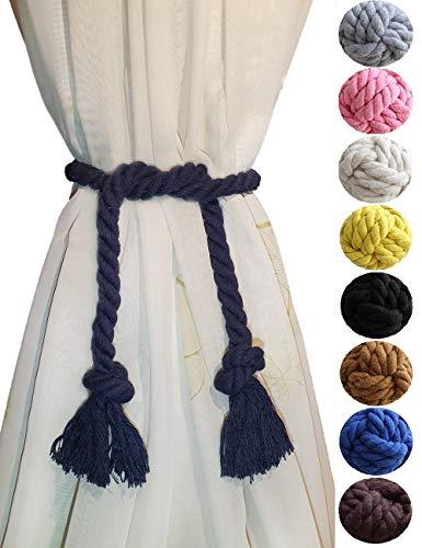 ASDFG Black 2 Curtain Tiebacks- Simple Style Natural Cotton Rope Curtain Holdback, Curtain Decorative Holdbacks for Drapery Tieback, Handmade Cotton Rope (2, Black)