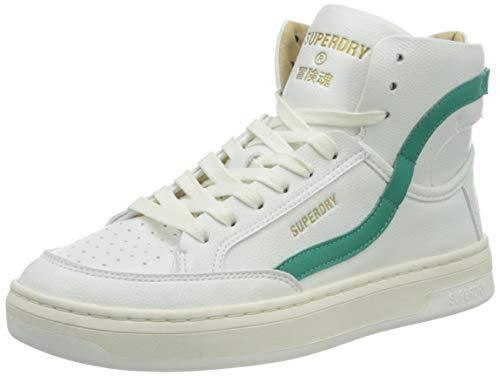 Superdry Womens Basket Lux Trainer Sneaker, White/Aqua,38 EU