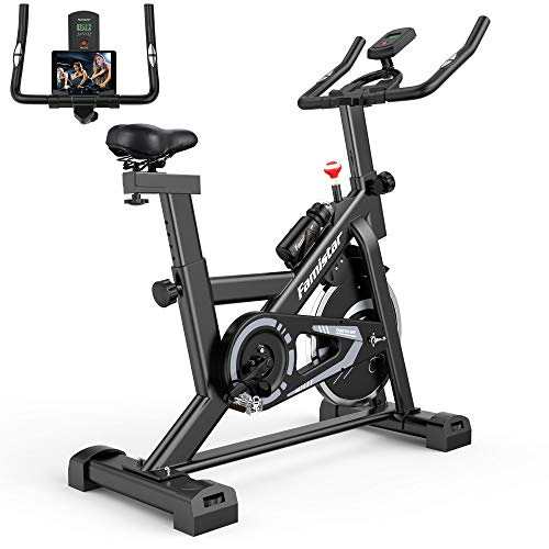 Famistar 40 lbs Quiet Flywheel 300 lbs Capacity Exercise Bike, Indoor Cycling Bike Stationary with LCD Display, Adjustable Comfortable Seat and Smooth Quiet Belt,Carbon-Steel Heavy-duty Cycle Bike