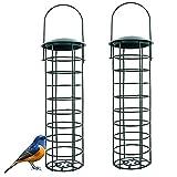 2 Piezas de Comedero de Pájaros de Metal para Teta,Gorriones y Diversas Aves Silvestres, Sólidos y Estables, Verde