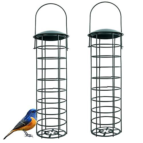 2 Pcs Bird Feeders Hanging, Grid Design, Bird Feeder Made of Metal for...