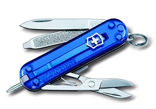 Victorinox Signature Taschenmesser, 7 Funktionen, Klinge, Kugelschreiber, Schere, blau transparent