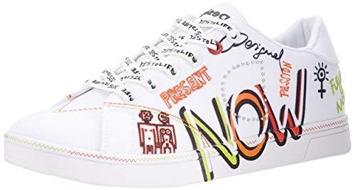 Desigual Damen Shoes_Cosmic_Text Sneakers Woman, White, 38 EU